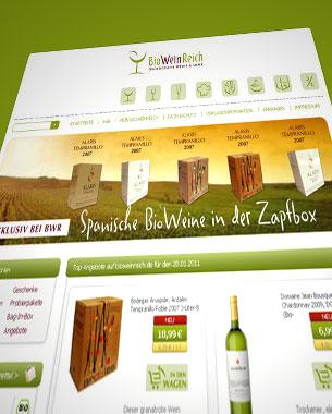 Für BioWeinReich wurde die Corporate Identity komplett neu entwickelt und in einem Internet-Shop umgesetzt.  http://www.bioweinreich.com